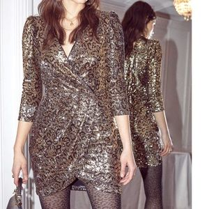 ASTR Leopard Sequin Mini Dress